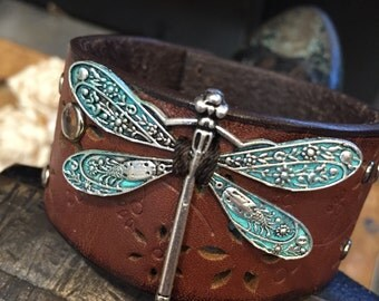 Leather bracelet, leather dragonfly cuff, dragonfly bracelet, chunky bracelet, dragonfly