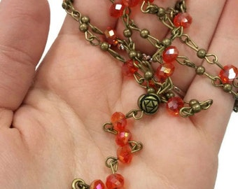 Gothic Rosary, Red Rosary Necklace, Rosary Necklace, Red Gothic Necklace, Red Necklace, Rosary Necklace