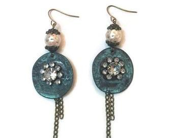 Long Chain Earrings, Chain Earrings, Long Vintage Earrings, Rustic Earrings,  Bronze Earrings, Patina Earrings, Vintage Boho Earrings