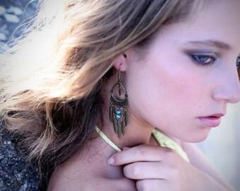 Long tribal earrings, gypsy feather beaded earrings, spike earrings, turquoise earrings, chain earrings