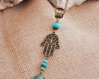 Hippie hamsa hand necklace, Gypsy style jewelry, emerald necklace, elephant pendant, bronze beads necklace