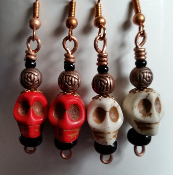 SKULL & ROSEBUD EARRINGS with Copper. Handmade for Halloween, Day of the Dead. Red or White Skull Dangle with Rose Bead. Goth, Steampunk.