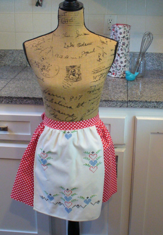 Red and White Polka Dot Apron, Half Apron, Vintage Linen Apron, Embroidered Apron, Hearts Apron, Heirloom Apron, MarjorieMae
