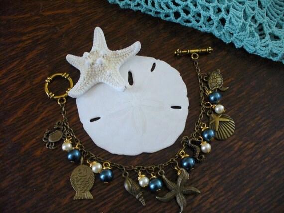 Beach Bracelet, Charm Bracelet, Summertime, Seashell Bracelet, Fish, Crab, Conch, Turtle, Seahorse, Ocean Charms, Beach Charms, MarjorieMae