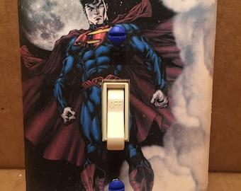 Superman Light Switch Cover - Handmade - Dc Comics
