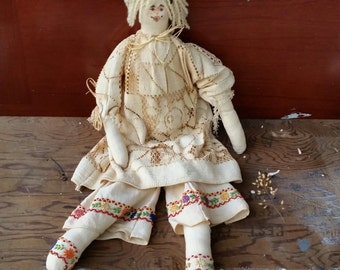 Vintage rag doll/ hand made/ gorgeous and loads of character