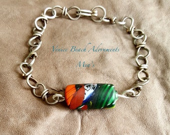 Men's silver chain bracelet with African bead