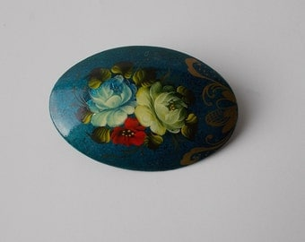 Vintage Russian Hand Painted Wooden Brooch