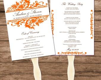 Orange Wedding Program Fan Template, Download Vintage Design, Editable Text & Colors