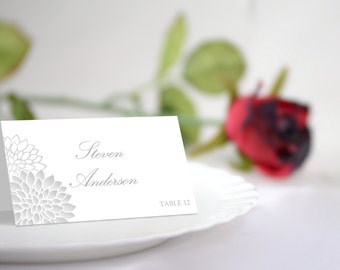 DIY Wedding Place Card Template, Silver Chrysanthemum Seating Card. Silver Flowers, Editable Text &Colors, DOWNLOAD INSTANTLY
