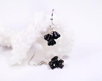 black earrings daughter earrings cluster earrings jet black jewelry gift girlfriend black flower jewelry silver earrings romantic gifts пя67