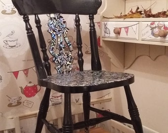 Black and Iridescent Wooden Fiddle Back painted chair