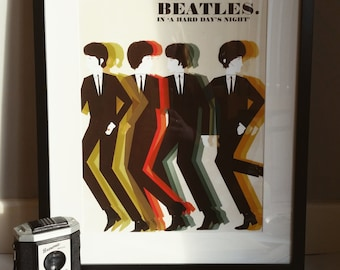 The Beatles 'A Hard Day's Night' 1960s Illustration Band Poster A3