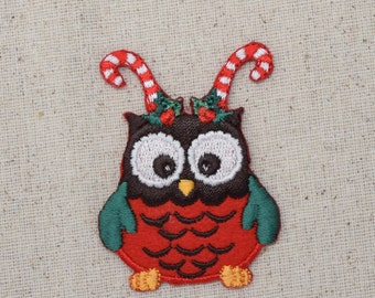 Christmas - Owl with Candy Cane Antlers - Embroidered Patch- Iron on Applique - 695908A