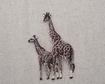 Two Giraffe - African Safari Animals - Zoo - Iron on Applique - Embroidered Patch - 695142-A