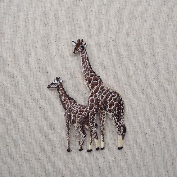 Two giraffe african safari animals zoo iron on applique
