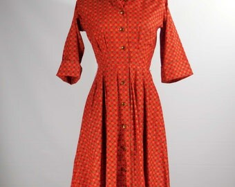 Vintage 1950s-60s cotton day dress red print 3/4 sleeve Xsm/small Kaytron label shirt waist dress