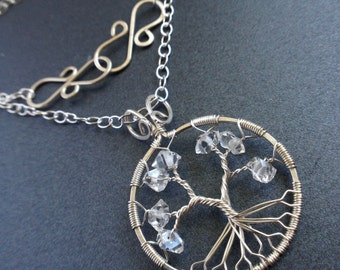 Herkimer Diamond Tree-Of-Life Necklace Sterling Silver Herkimer Quartz April Birthstone Statement Necklace Wholesale Wedding Anniversary