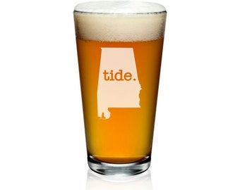 Alabama Pint Glass. Customize With Text or Symbol. Alabama Glass. Alabama Beer Glass.