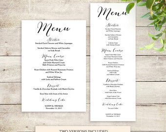 Wedding menu template printable Menu template | Sweet Bomb | Reception Menu printable Editable template