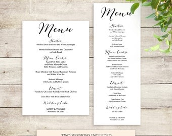 Printable menu | Etsy