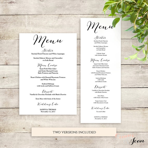 Wedding Menu Template Printable Menu Template | Sweet Bomb | Reception Menu  Printable Editable Template  Menu Printable Template