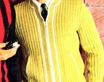 Men's Retro 60s Zipped Cardigan Knitting Pattern