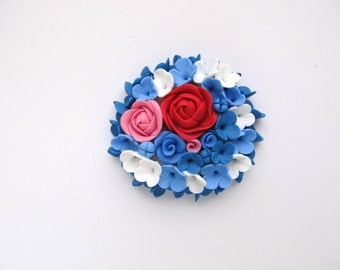 Floral brooch white blue pink red brooch with roses bridal brooch