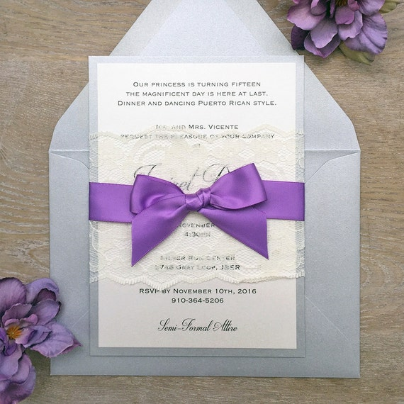 JAVIRET - Lace Quince Invitation - Sweet Sixteen Invite - Silver and Ivory Shimmer Card Stock with Ivory Lace Wrap and Purple Satin Ribbon