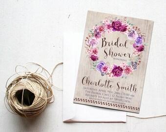 Bridal Shower Invitations Printable, Purple, Violet, Lavender Bohemian Party Invite, Boho Chic Baby Shower Sweet 16 Festival Birthday