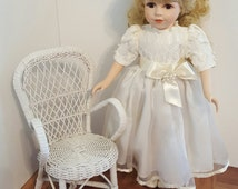 18 inch doll chair/ doll display chair/ american girl size chair/ doll wicker chair/ photo prop/ 1:4 scale chair/ 1 4 scale furniture