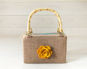 Tan Purse with Gold Rose Felt Flower and Bamboo Handles