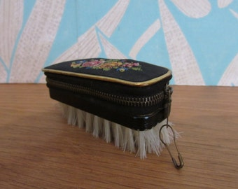 Vintage needlepoint/petit point nail brush manicure set