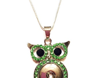 Snap Necklace, Owl Snap Necklace, Fits 18mm Ginger Snap Charms, Interchangeable Snap Jewelry, Choose Your Chain Length, 18, 24 or 28 inches