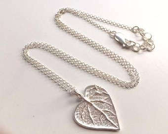 Sterling Silver Leaf Necklace, Leaf pendant, Sterling silver, Nature,  thehappylittlebeader