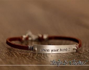 Shine Your Light -  Leather & Sterling Bracelet