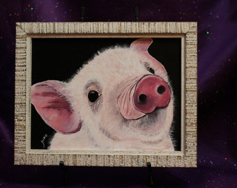 Pig framed wall art, White piglet painting, Framed rustic pig painting, pink pig original wall art