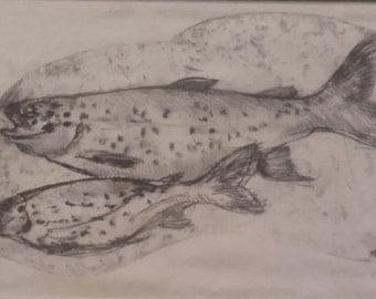 Swimming Fish Engraving on Silk
