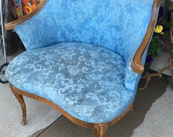 Darling powder blue boudoir chair ornate wood detail wide chair tufted back fench inspired