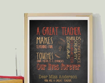 Teacher Gifts Teacher Appreciation Gift Personalized Teacher Gifts Customized Teacher Gift for Teacher Printable