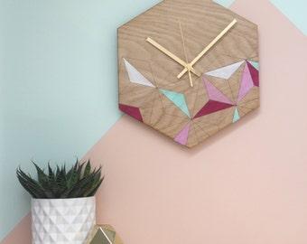 Rose Kaleidoscope Clock - Scandi Style Blush and Mint Geometric Clock - Hexagon Clock - Handprinted Laser Etched Clock