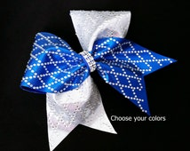 Cheer bow, Diamond cheer bow, rhinestone cheer bow, Cheerleading bow, cheerleader bow, dance bow, softball bow, cheerbow, Rec cheer bow