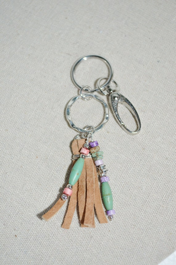 Keychain Leather Tassel & Turquoise // Swivel Clip