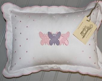 Nursery Pillow - Baby Pillow - Butterfly Pillow - Baby Girl Pillow - Crib Pillow