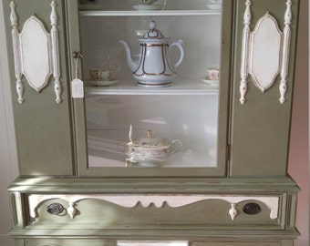 1930's Hand painted antique china cabinet Hutch 2 days special of 50.00 off original Price 675