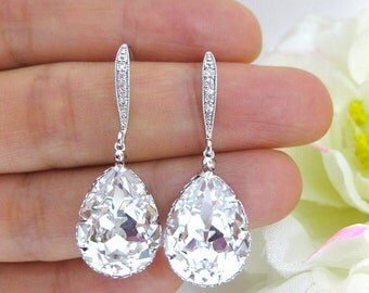 Bridal Crystal Earrings Wedding Jewelry Swarovski Clear White Crystal Teardrop Earrings Bridesmaid Gift Dangle & Drop Earrings (E122)