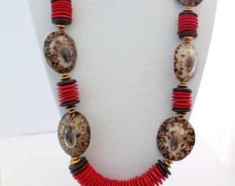 Red and Brown Chunky Necklace