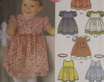 Baby Infant Toddler Dresses Panties Hair Bands Bows Sewing Pattern Simplicity 5279 Sz XXS-L Puffed Sleeve Pinafore Uncut Factory Folded #55N