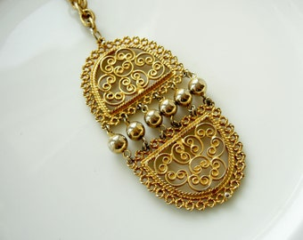 Vintage Gold Oval Ornate Statement Filigree Hinge Necklace, Ethnic Inspired/Boho