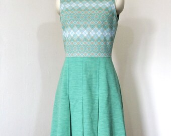 Vintage 60's Mod Mint Green Argyle Dress with Pleated Skirt- S/M